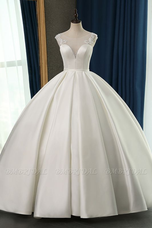 BMbridal Chic Satin Ball Gown Jewel Wedding Dress Sleeveless Appliques Ruffles Bridal Gowns On Sale