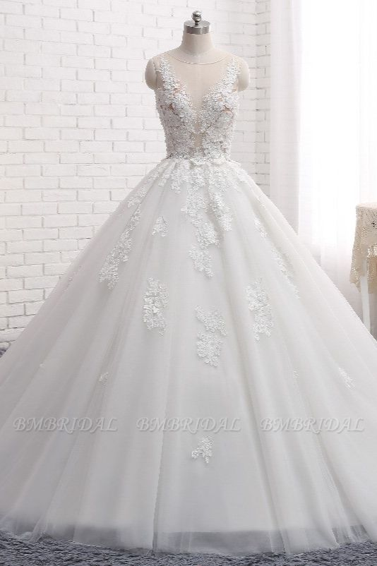 Elegant Straps Sleeveless White Wedding Dresses With Appliques A line Tulle Bridal Gowns On Sale