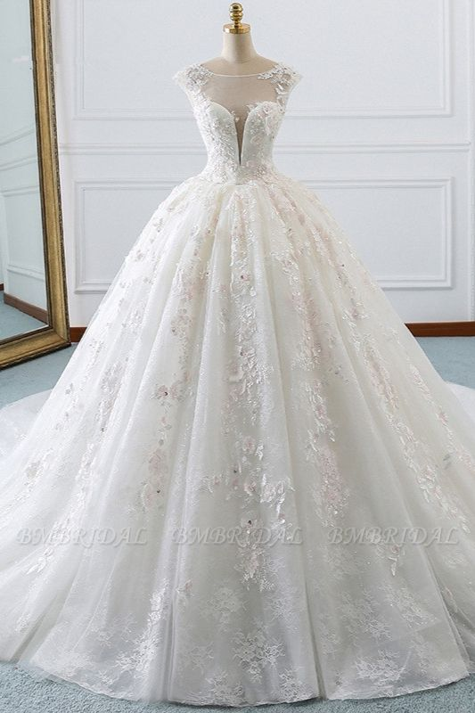 BMbridal Luxury Ball Gown Jewel Tulle Wedding Dress Beading Lace Appliques Sleeveless Bridal Gowns On Sale