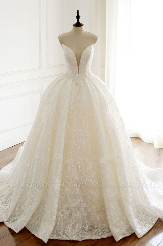 Sexy Deep-V-Neck Strapless Tulle Wedding Dress Sleeveless Lace Appiques Bridal Gowns On Sale