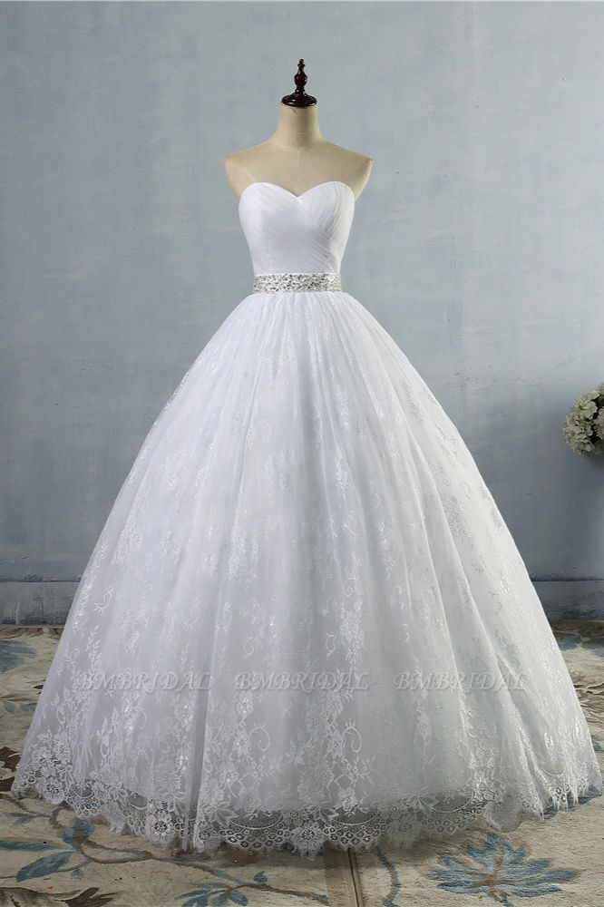BMbridal Stylish Tulle Appliques Ball Gown Wedding Dresses Sweetheart Sleeveless Bridal Gowns with Beading Sash