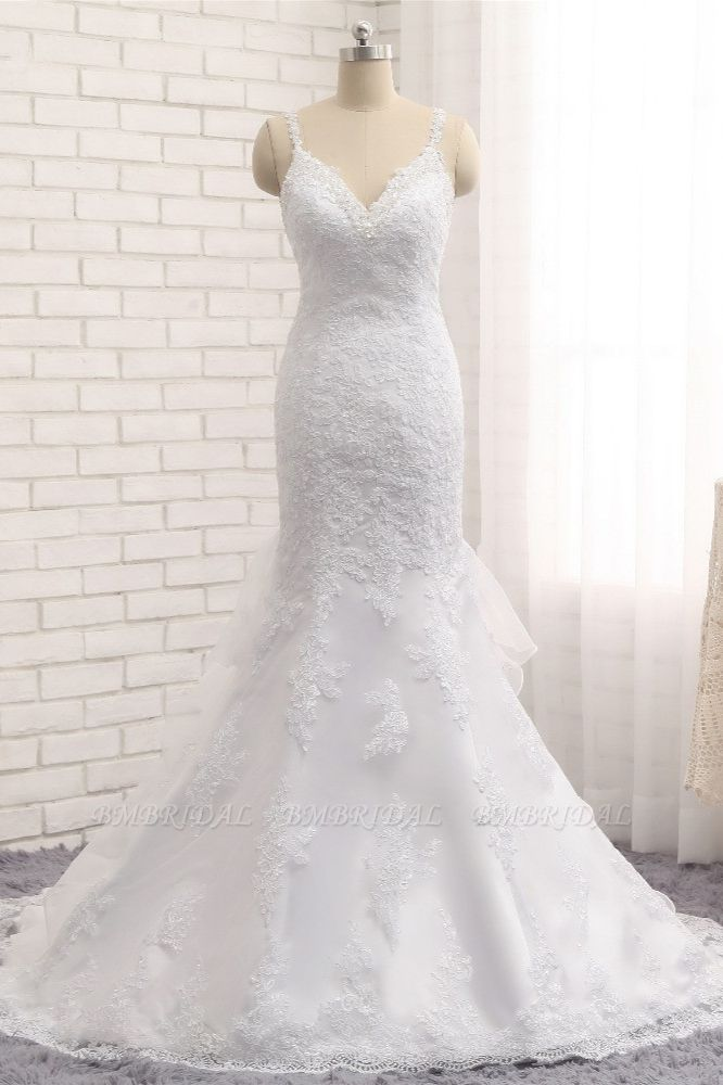 BMbridal Elegant V-neck White Mermaid Wedding Dresses Sleeveless Lace Bridal Gowns With Appliques On Sale