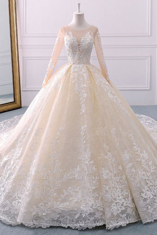 BMbridal Gorgeous Jewel Champagne Tulle Lace Wedding Dress Long Sleeves Appliques Bridal Gowns Online