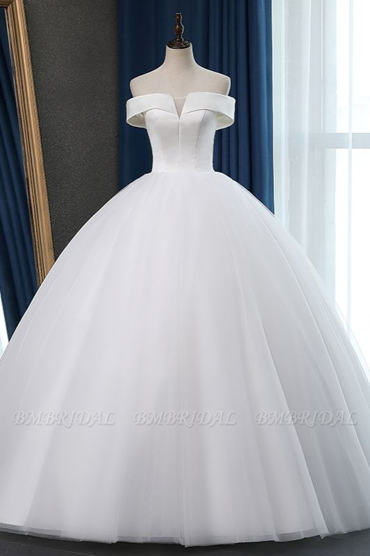 Glamorous Off-the-shoulder A-line Tulle Wedding Dresses White Ruffles Bridal Gowns On Sale