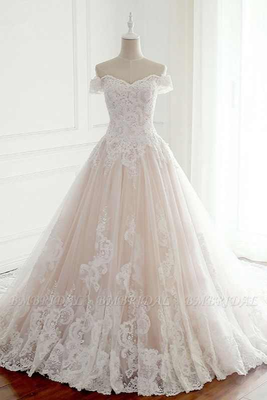 BMbridal Elegant Off-the-Shoulder Tulle Lace Wedding Dress Sweetheart Appliques Sleeveless Bridal Gowns On Sale