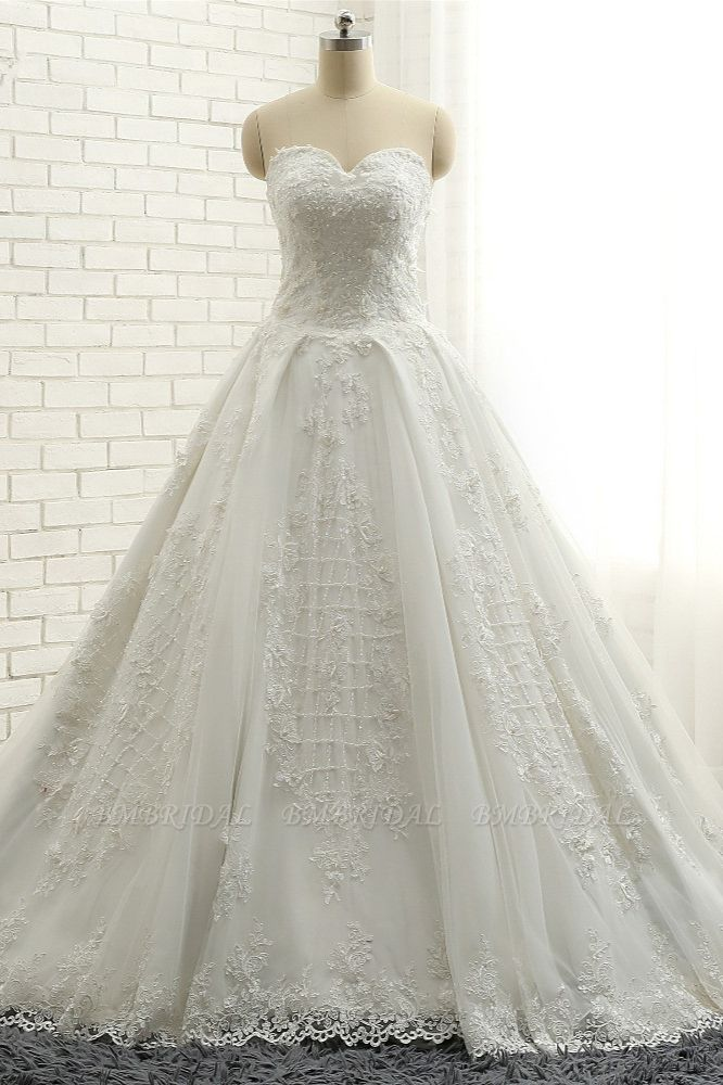 BMbridal Glamorous Sweetheart A-line Tulle Wedding Dresses With Appliques White Ruffles Lace Bridal Gowns  Online
