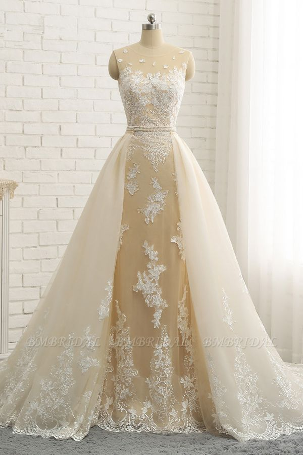 Glamorous Jewel Tulle Champagne Wedding Dress Appliques Sleeveless Overskirt Bridal Gowns with Beading Sash Online