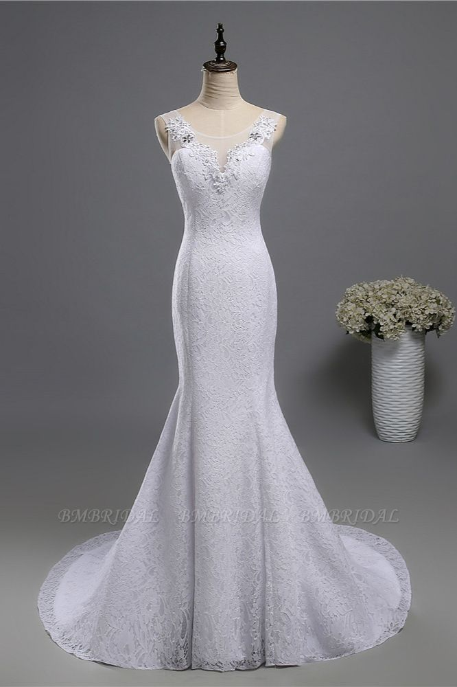 BMbridal Affordable Jewel Lace Sequins Mermaid Wedding Dress Sleeveless Appliques Bridal Gowns with Crystals