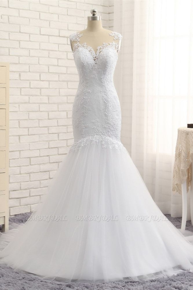 Stunning Jewel White Tulle Lace Wedding Dress Appliques Sleeveless Bridal Gowns On Sale