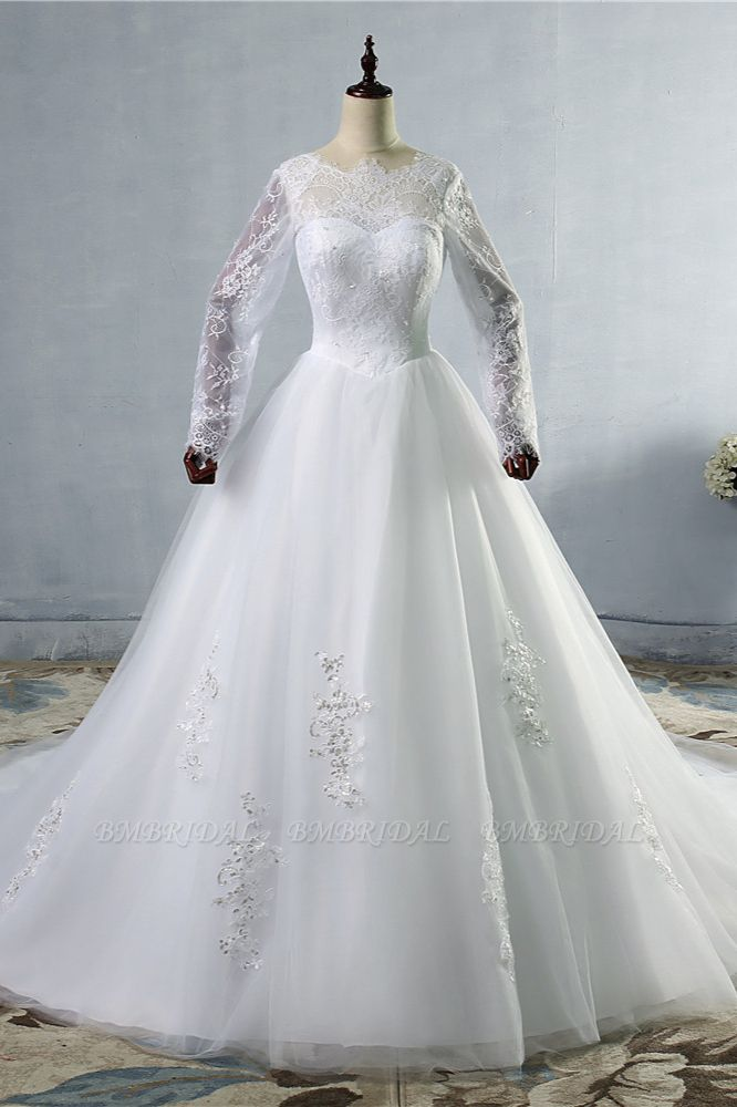 BMbridal Elegant Jewel Tulle Lace Wedding Dress Long Sleeves Appliques Sequins Bridal Gowns On Sale