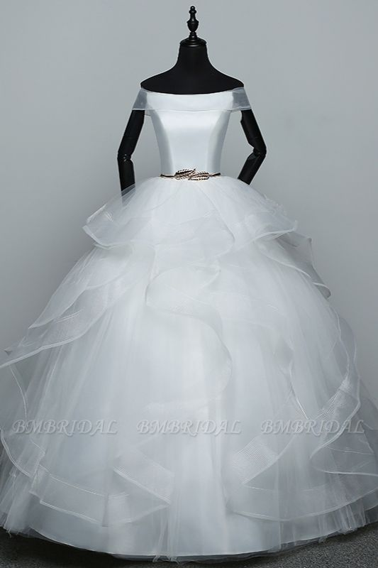 Elegant Off-the-Shoulder Organza Wedding Dress Sleeveless Ruffles Bridal Gowns with Beading Sash