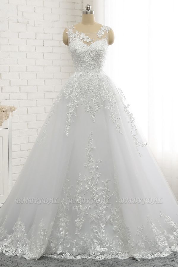Chic A-Line Jewel Tulle Lace Wedding Dress Sleeveless Appliques Bridal Gowns with Beadings Online