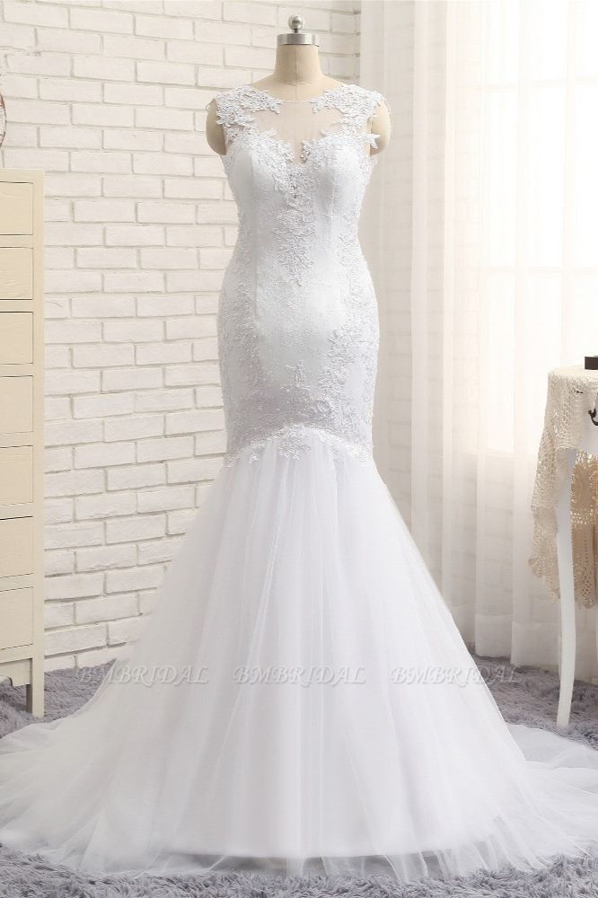 Glamorous Jewel Tulle Appliques Wedding Dress Lace Sleeveless Mermaid Bridal Gowns Online