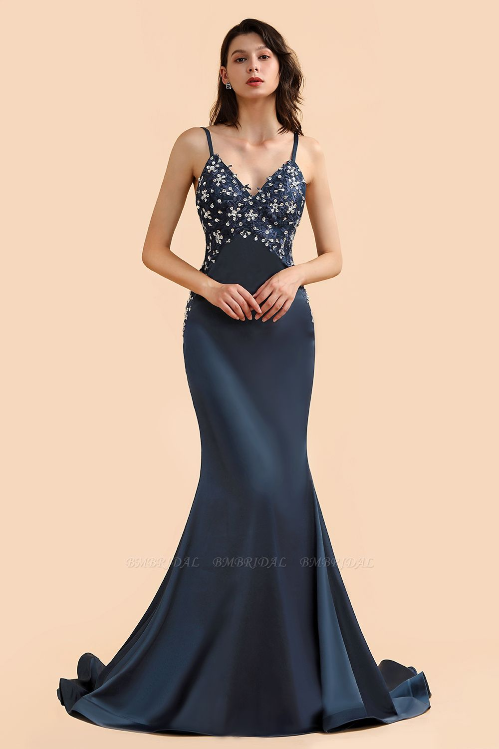 BMbridal Affordable Spaghetti Straps V-Neck Prom Dresses Sleeveless Appliques Beadings Party Dresses Online