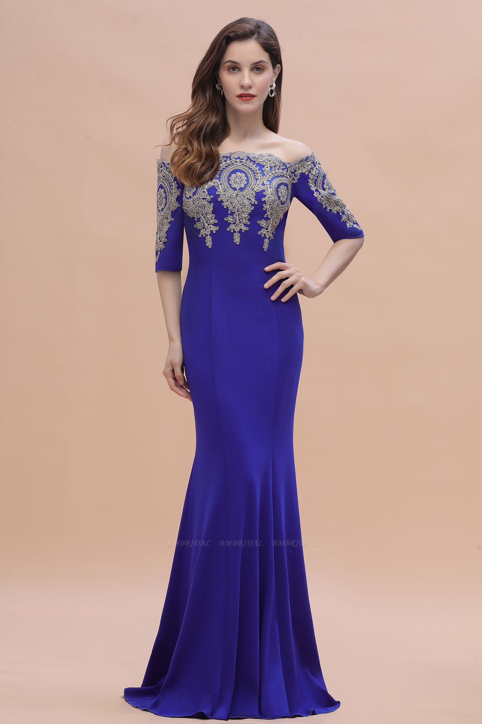 BMbridal Mermaid Off-Shoulder Chiffon Lace Half Sleeve Evening Dress