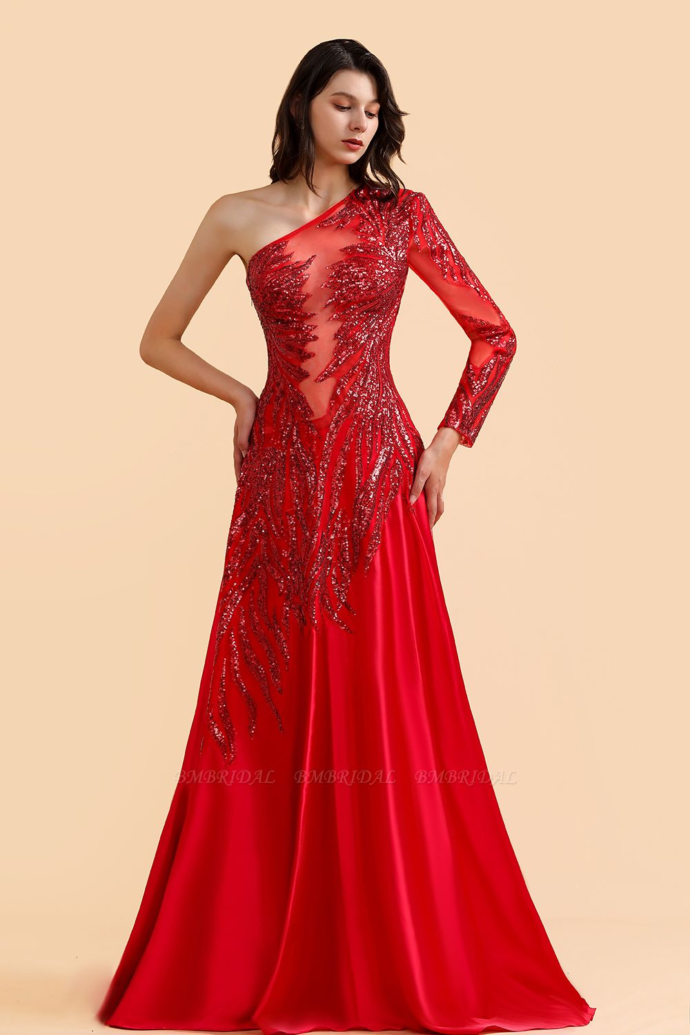 BMbridal Chic One-Shoulder Red Sequined Prom Dresses One-Sleeve Sexy Party Dress On Sale