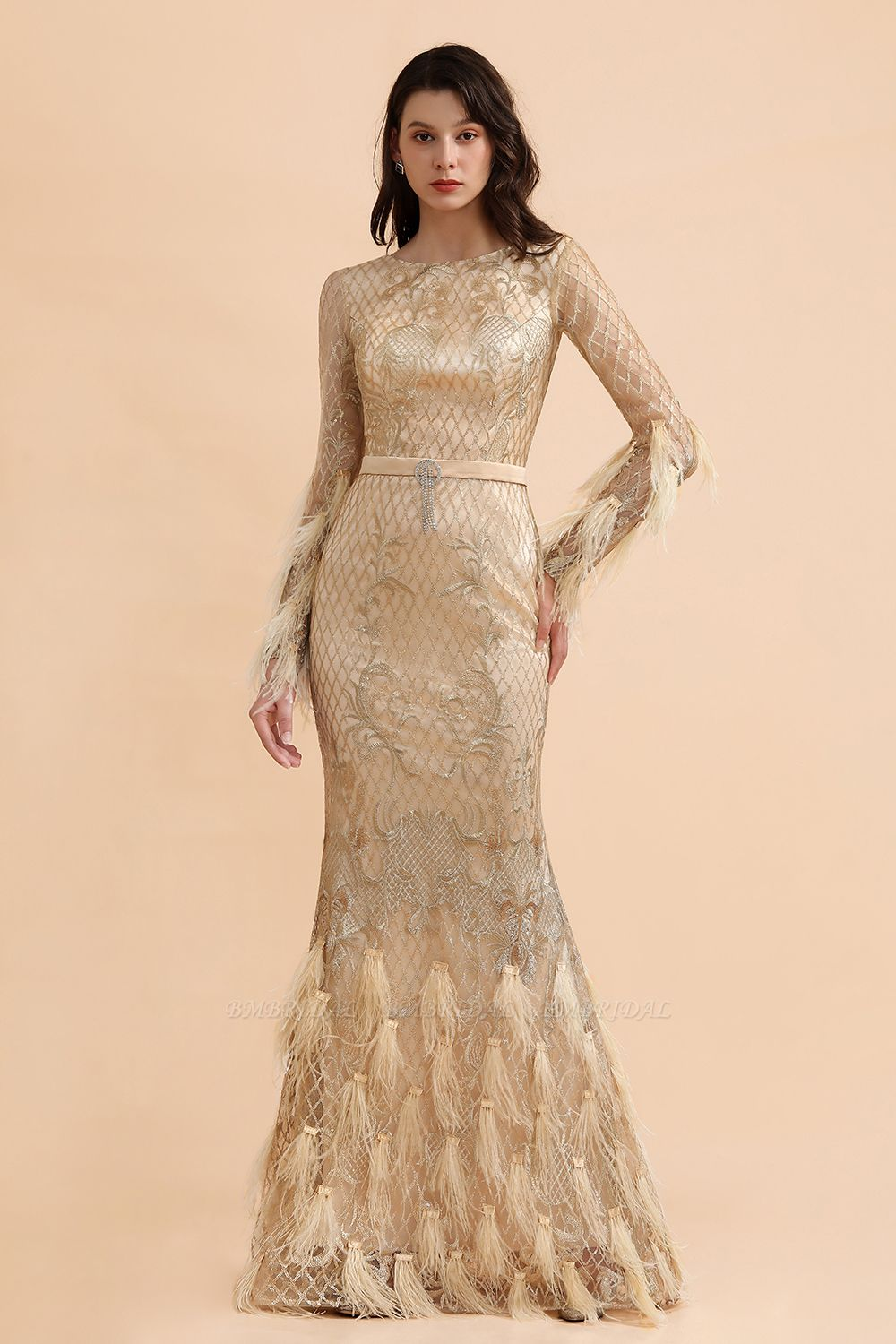 BMbridal Glamorous Jewel Lace Appliques Prom Dresses Long Sleeves Mermaid Formal Dresses with Fur