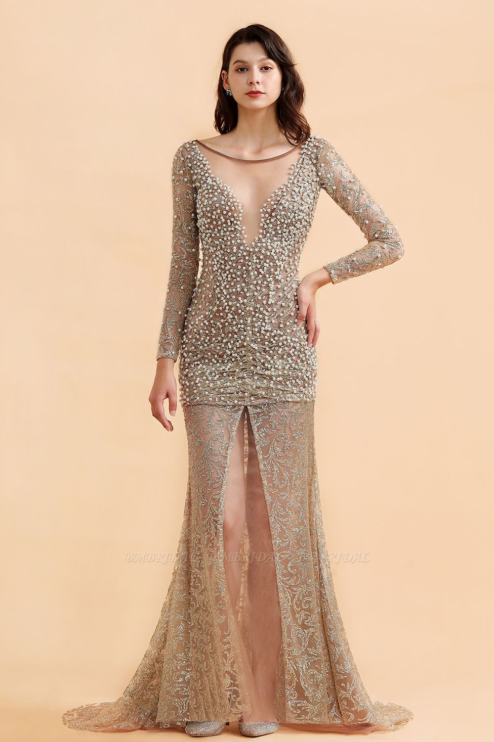 BMbridal Glamorous Jewel Lace Front Slit Prom Dresses Long Sleeves Appliques Formal Dresses with Pearls