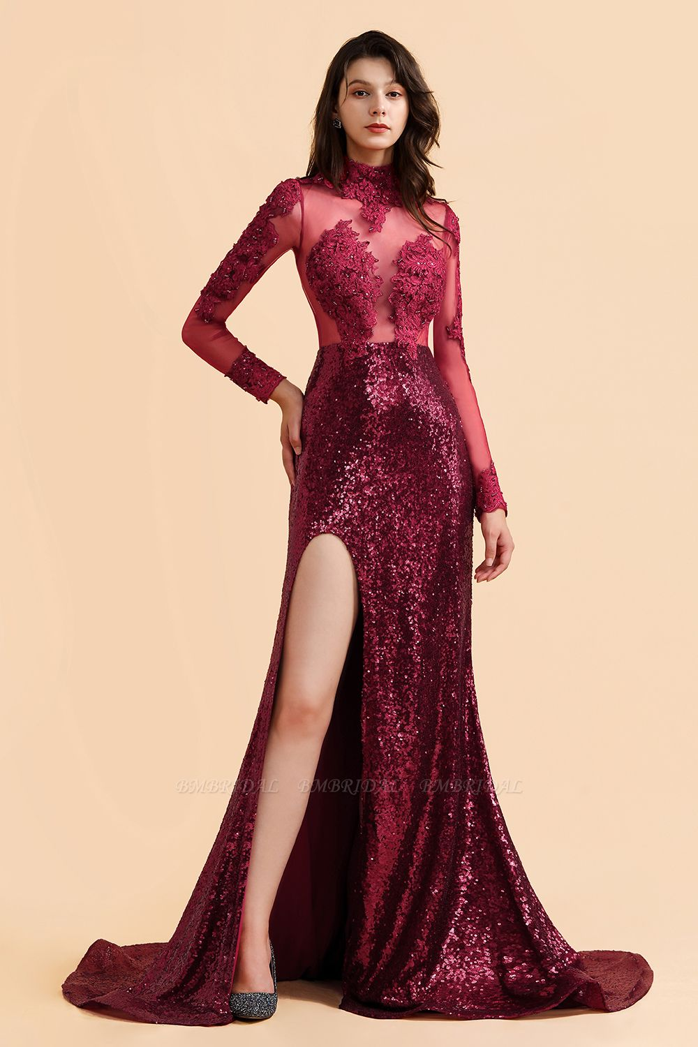 BMbridal Sexy High-Neck Burgundy Sequined Slit Prom Dresses Long Sleeves Appliques Backless Formal Dress with Sheer Top