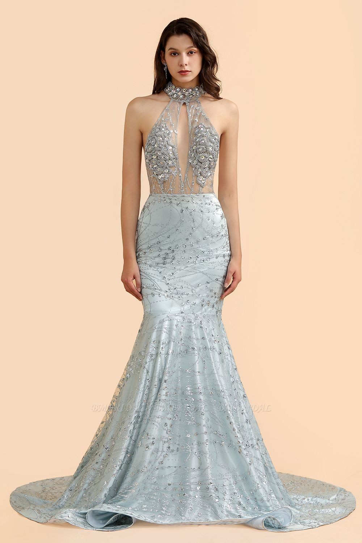 BMbridal Luxurious Halter Rhinestones Prom Dress Mermaid Long Online