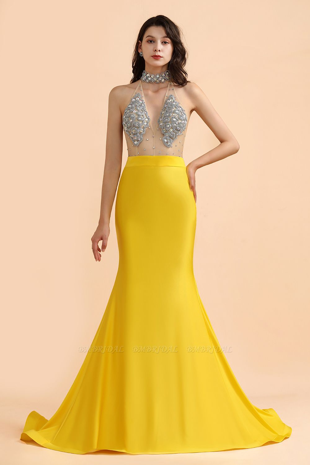 BMbridal Sexy Yellow Halter Backless Prom Dress Long Mermaid With Crystals