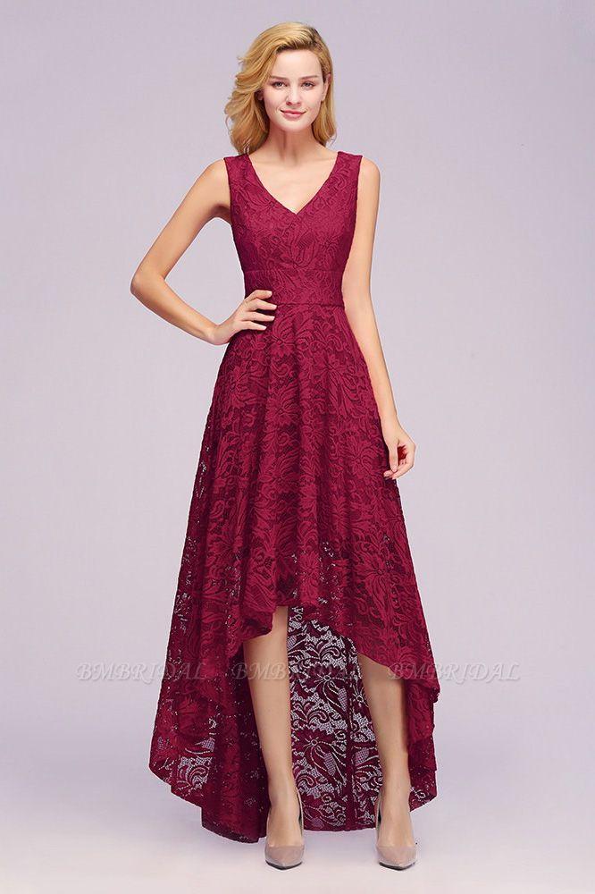 BMbridal A-line Hi-lo V-neck Sleeveless Burgundy Lace Dress
