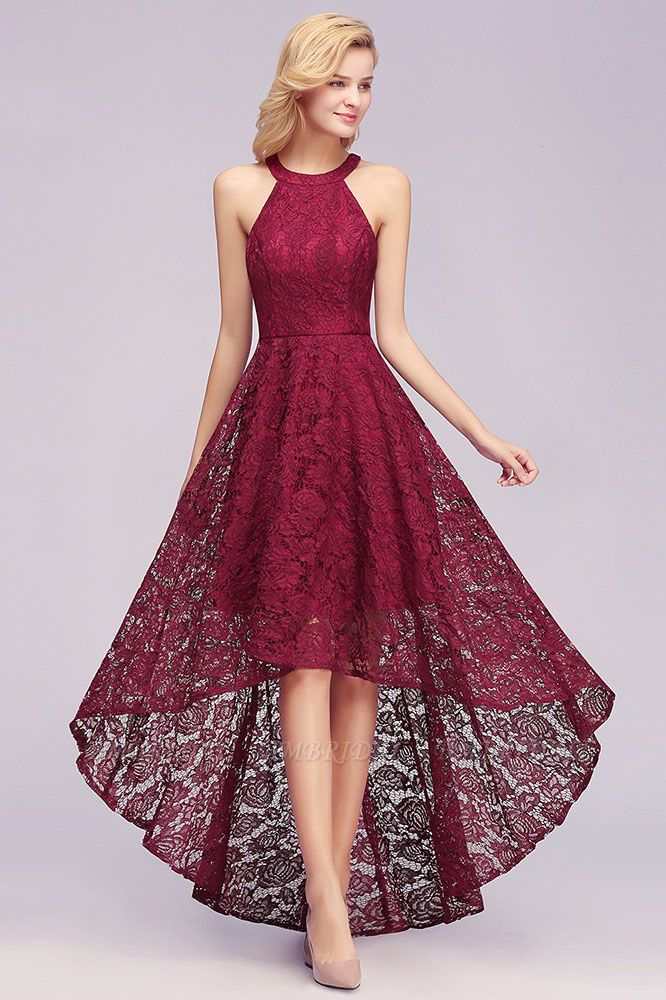 BMbridal Halter Sleeveless Sheath Asymmetrical Burgundy Lace Dress