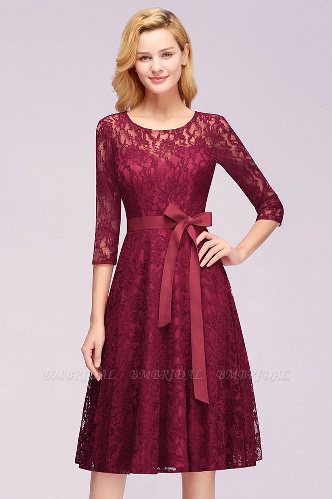 BMbridal Vintage A-line Burgundy Lace Dress with Sleeves