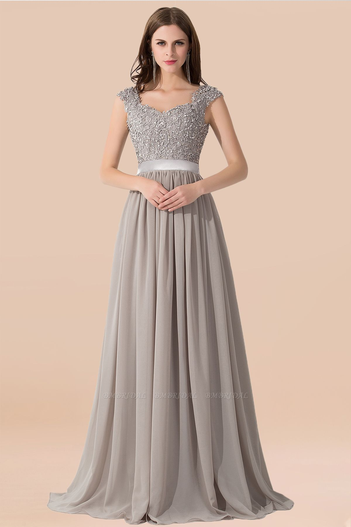 BMbridal Vintage Silver Sleeveless Long Bridesmaid Dress With Appliques
