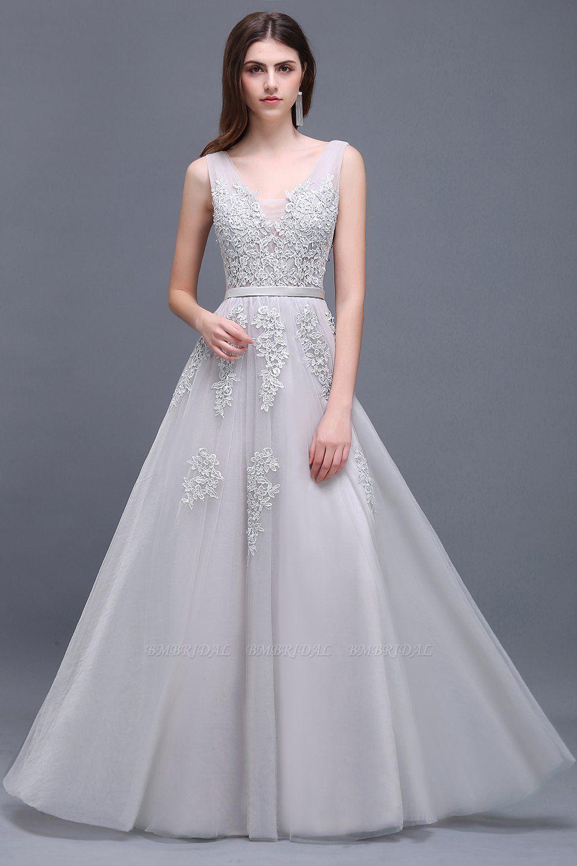 BMbridal V-Neck Sleeveless Lace Appliques Bridesmaid Dress