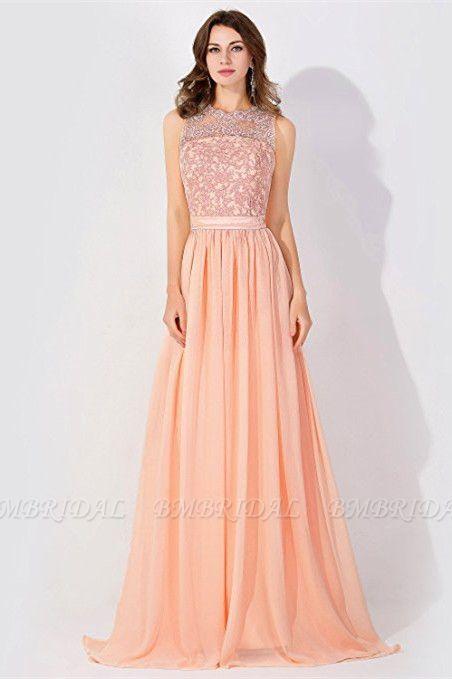 BMbridal A-line Chiffon Tulle Lace Ruffles Bridesmaid Dress