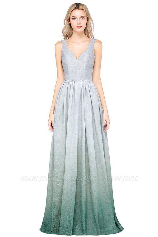 BMbridal A-line Ruffles V-Neck Long Evening Dress