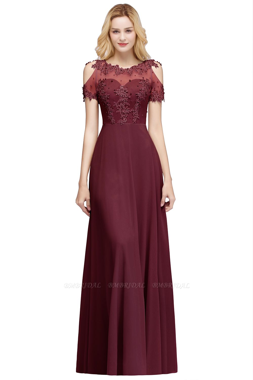 BMbridal Short Sleeve Lace Appliques Long Prom Party Dress