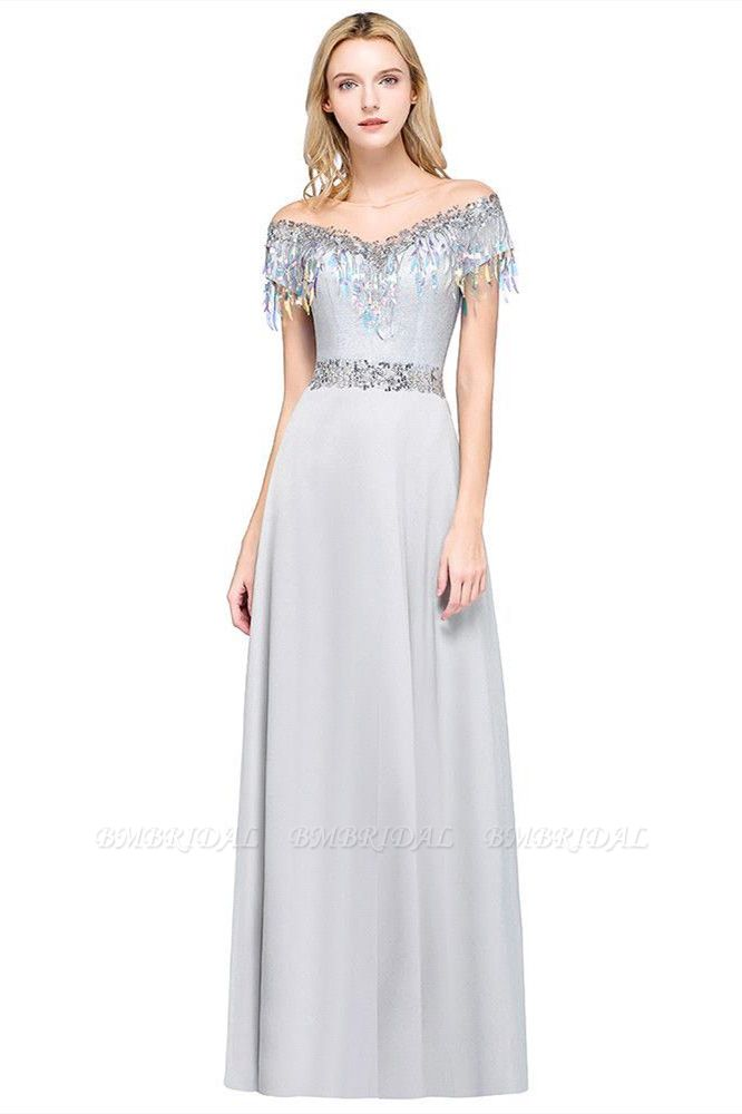 BMbridal A-line Jewel Short Sleeves Sequins Evening Dress with Tassels