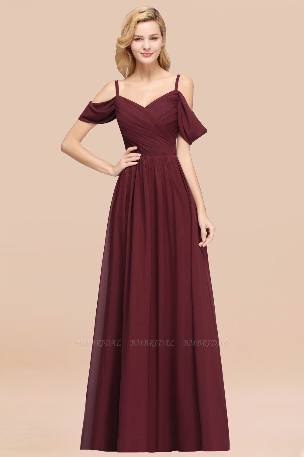 BMbridal Chic Off-the-shoulder Burgundy Bridesmaid Dress with Spaghetti Straps