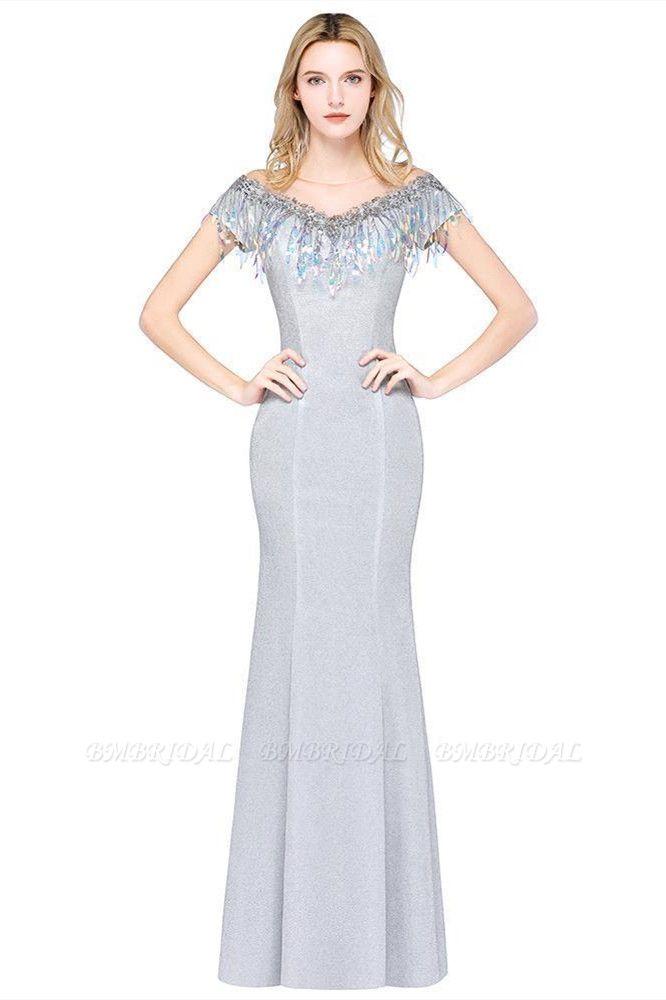 BMbridal Elegant Jewel Short Sleeves Sequins Evening Dress with Tassels