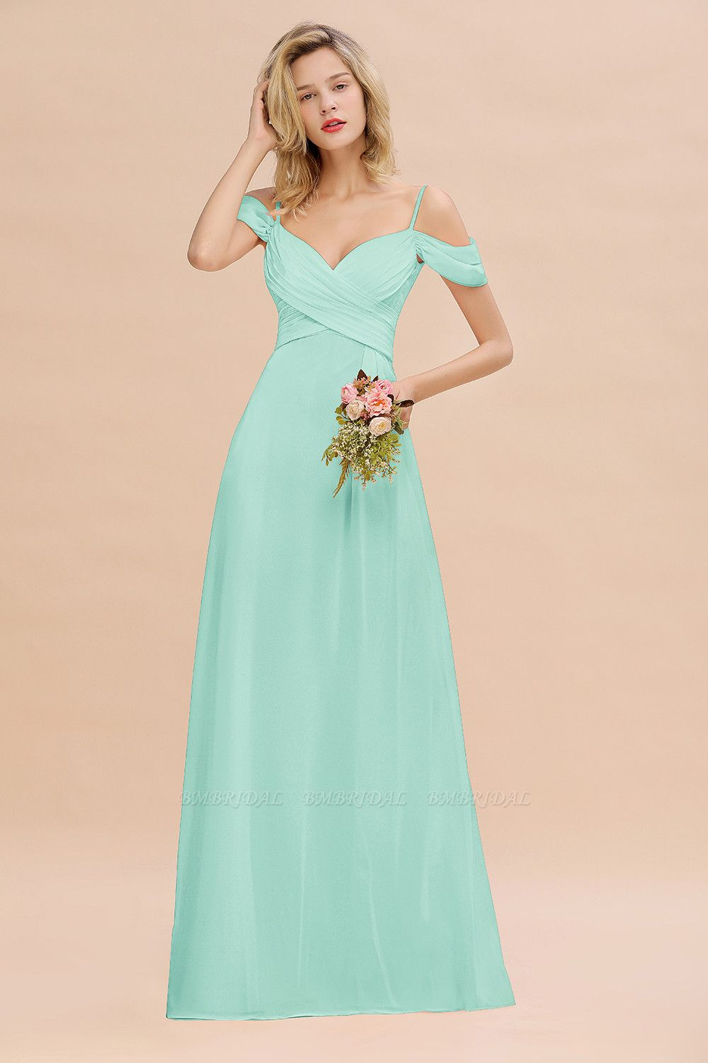 BMbridal Off-the-Shoulder Sweetheart Ruched Long Bridesmaid Dress Online