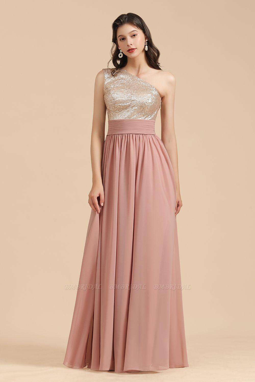 BMbridal One Shoulder Sequins Dusty Rose Bridesmaid Dress