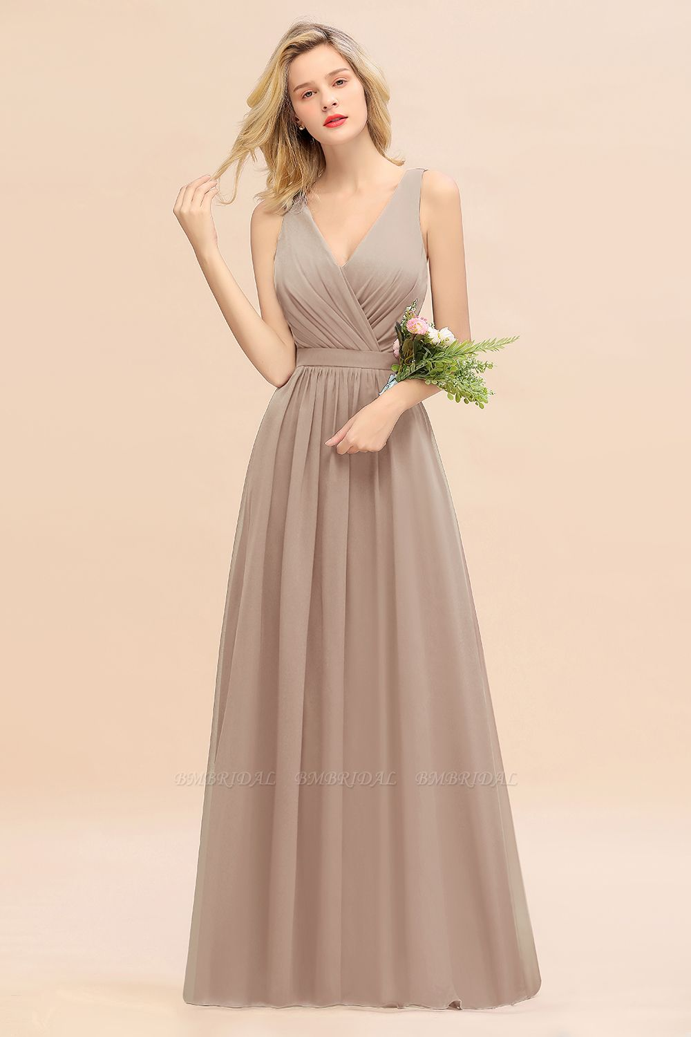 BMbridal Affordable V-Neck Ruffle Long Grape Chiffon Bridesmaid Dress with Bow