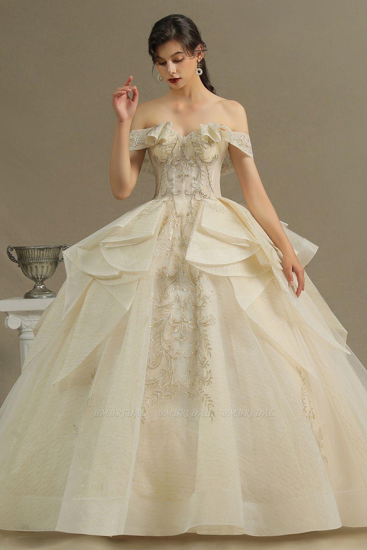BMbridal Off-the-Shoulder Princess Wedding Dress With Lace Appliques
