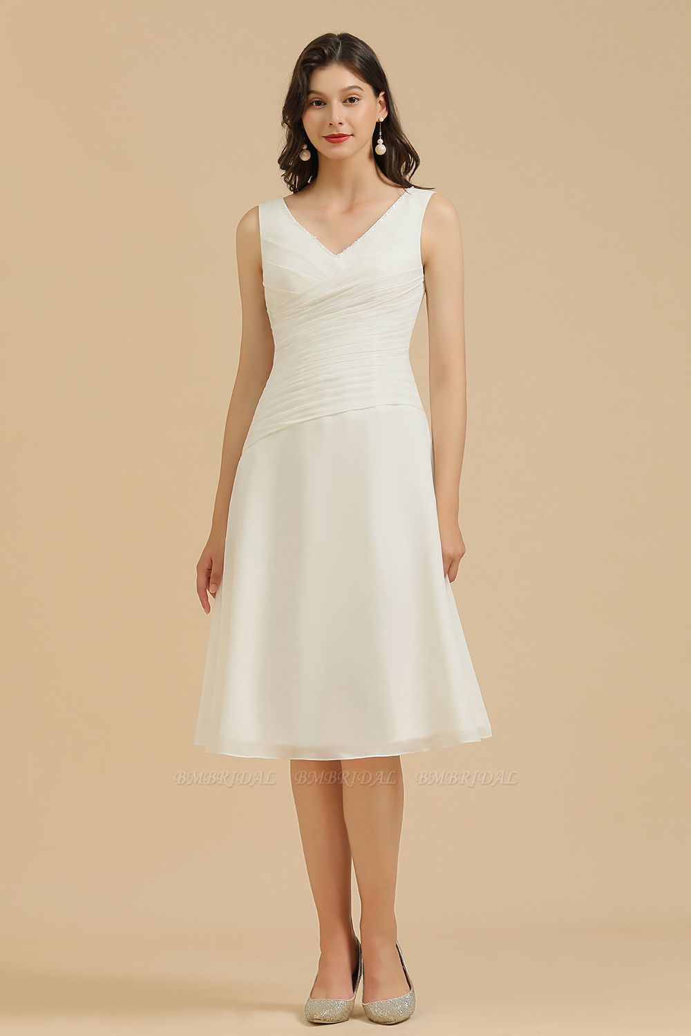 BMbridal V-Neck Knee-length Chiffon Bridesmaid Dress online