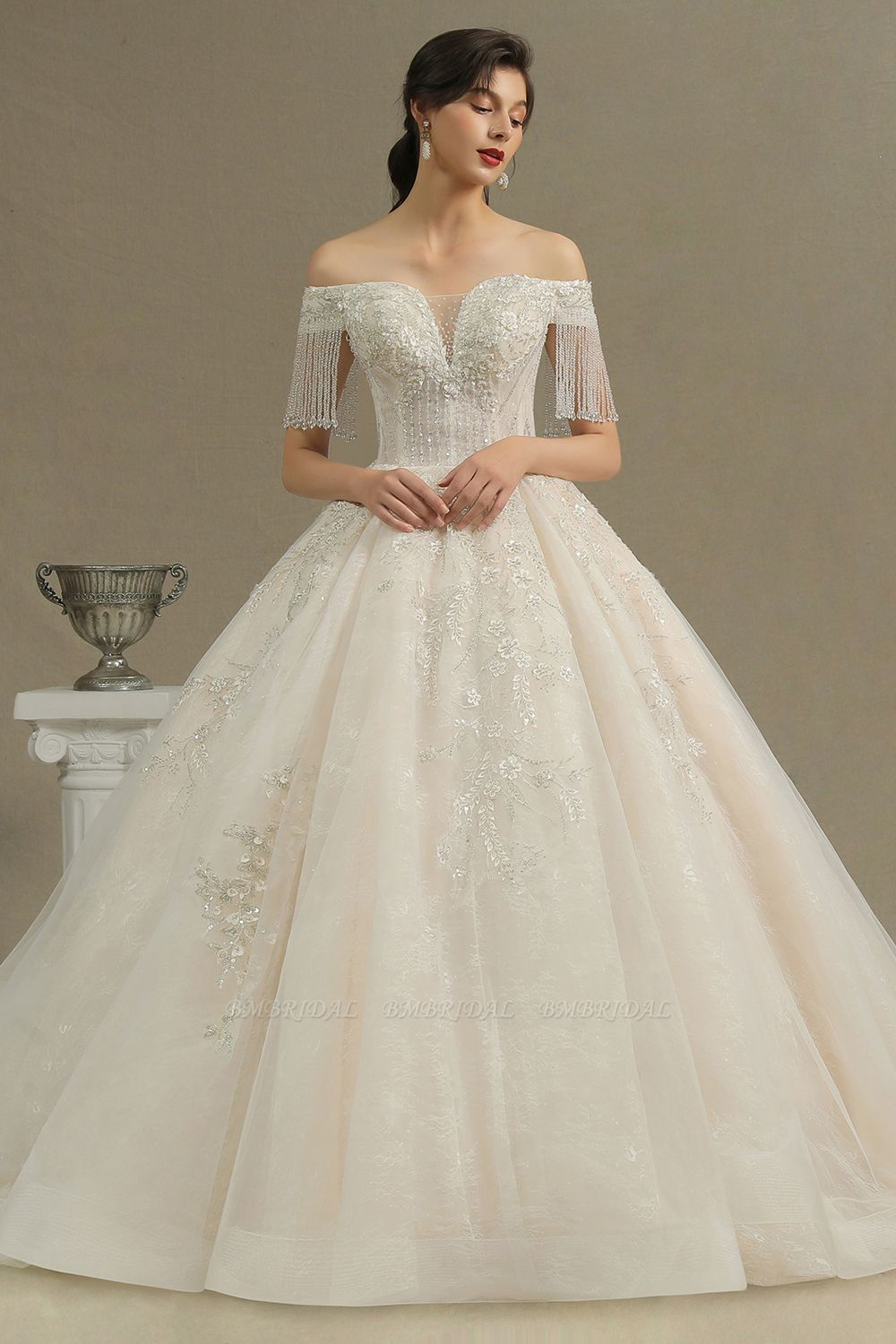BMbridal Off-the-Shoulder Tassels Ball Gown Wedding Dress With Beads