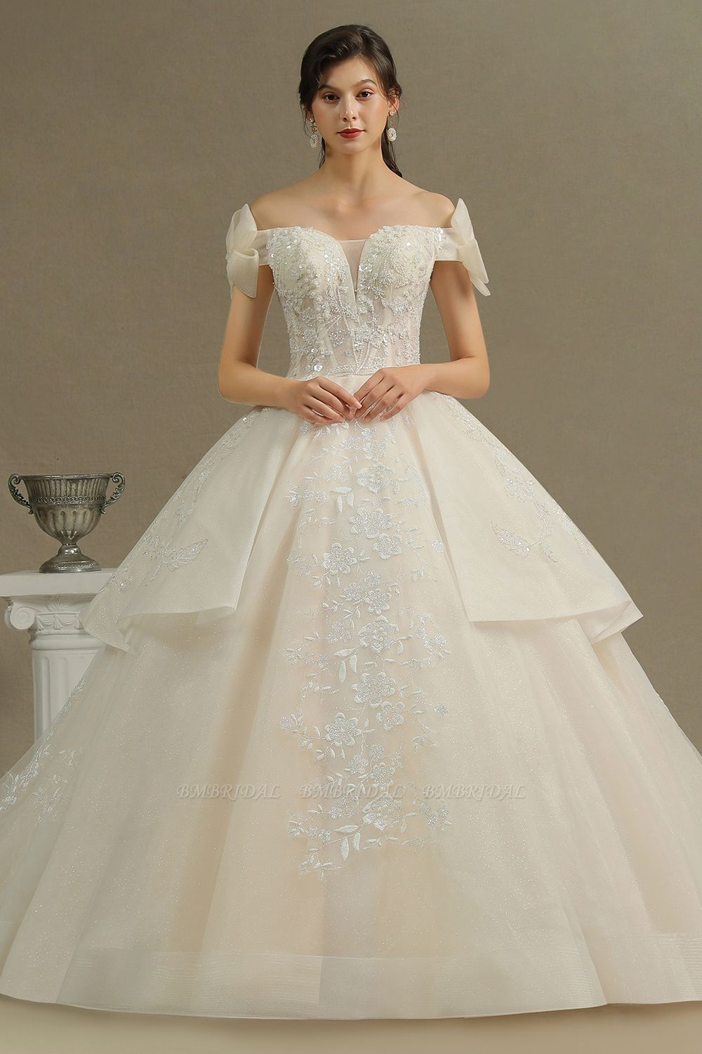 BMbridal Stunning Off-the-Shoulder Lace Brida Gown With Sequins Appliques