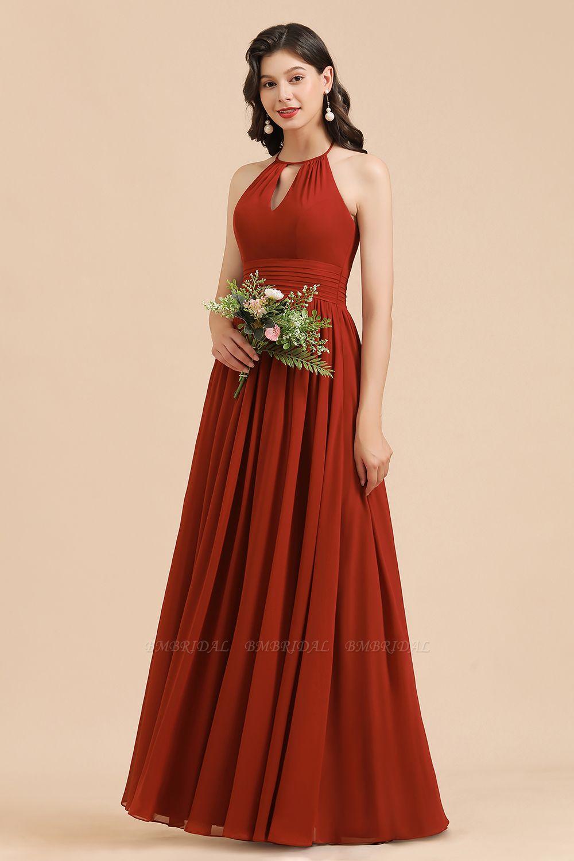 BMbridal Rust Halter Long Chiffon Bridesmaid Dress On Sale