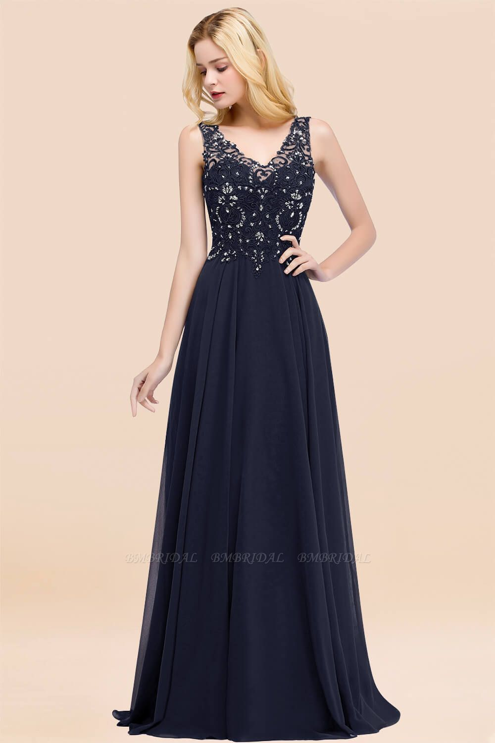 BMbridal Affordable Lace V-Neck Navy Bridesmaid Dresses With Appliques