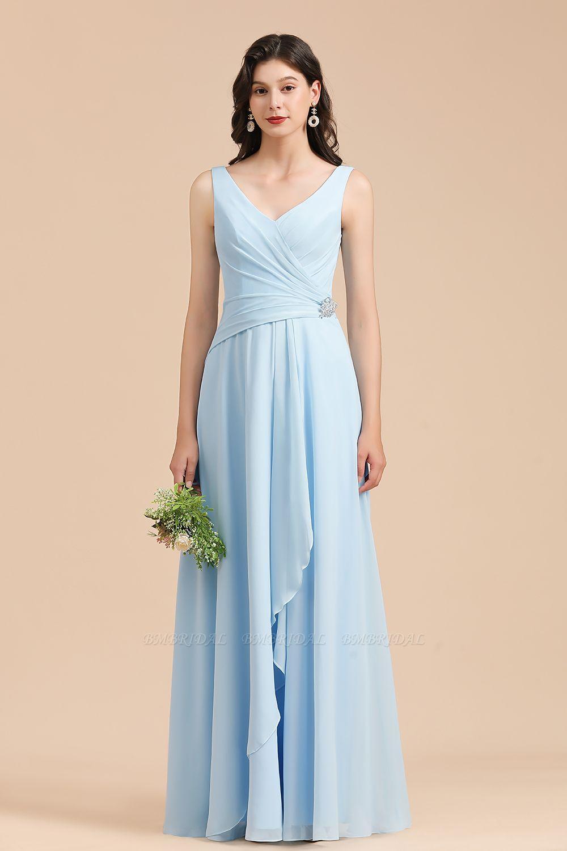 BMbridal Sky Blue Chiffon Long Bridesmaid Dress Ruched