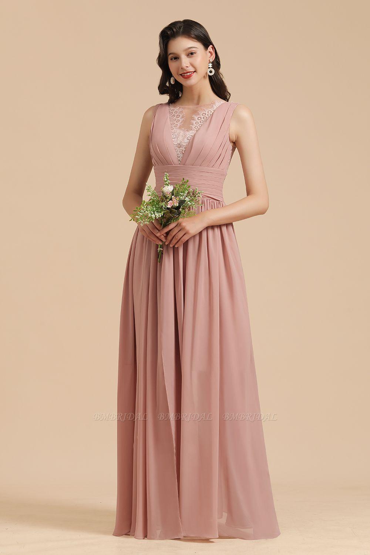 BMbridal Dusty Rose Chiffon V-Neck Bridesmaid Dress Long
