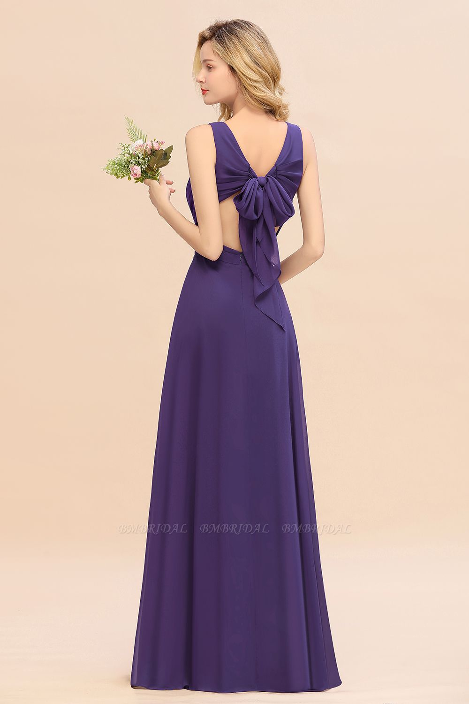 BMbridal Affordable V-Neck Ruffle Long Grape Chiffon Bridesmaid Dress with Bow