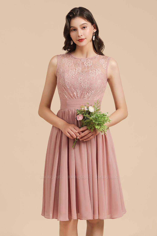 BMbridal Short Lace Dusty Rose Junior Bridesmaid Dress