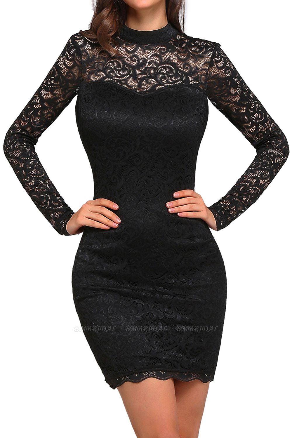 BMbridal High Neck Long Sleeve Lace Black Sexy Cocktail Dress